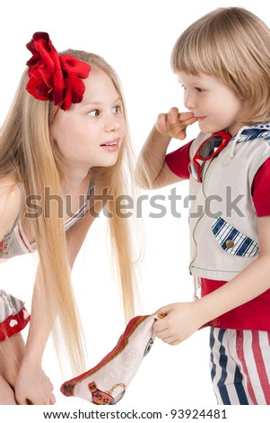 cute little boy and his beautiful sister - stock photo