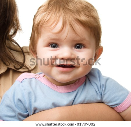 Cute little boy in mother's hands, isolated over white - stock photo
