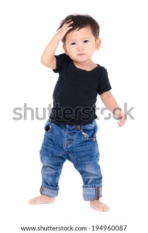 Cute Little Boy Isolated on the White Background. - stock photo