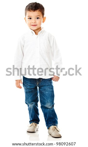 Cute little boy - isolated over a white background - stock photo