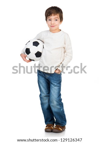 Cute Little boy soccer ball isolated on white - stock photo