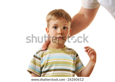 Cute little boy with father - stock photo