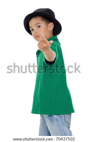 cute little boy with follow-me gesture, isolated on white background - stock photo