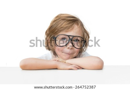 Cute little boy with toy glasses isolated on white background   - stock photo