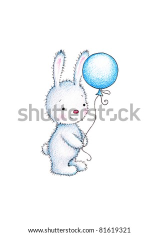 Cute little bunny with blue balloon on white background - stock photo