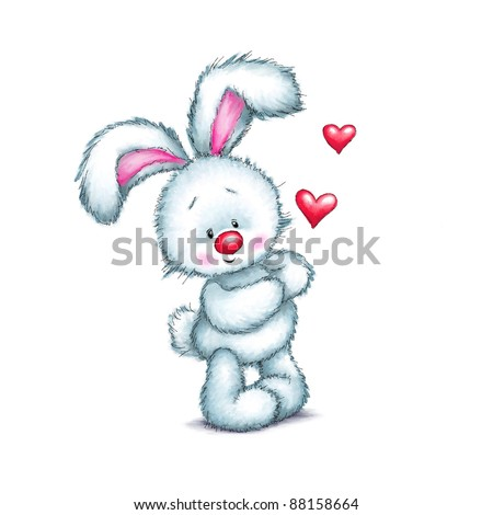 Cute little bunny with red hearts on white background - stock photo