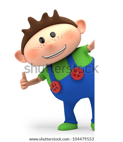 cute little cartoon boy giving thumbs up from behind blank sign - high quality 3d illustration - stock photo