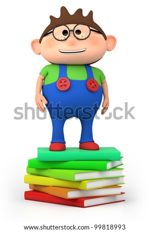 cute little cartoon boy standing on stack of books - high quality 3d illustration - stock photo