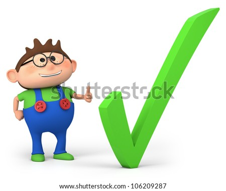 cute little cartoon boy with check mark - high quality 3d illustration - stock photo