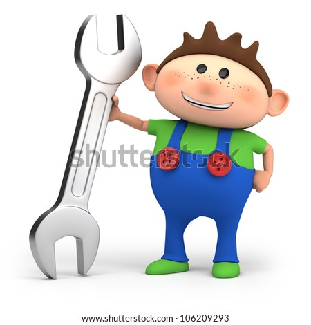 cute little cartoon boy with wrench - high quality 3d illustration - stock photo