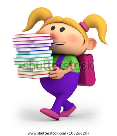cute little cartoon girl carrying books - high quality 3d illustration - stock photo