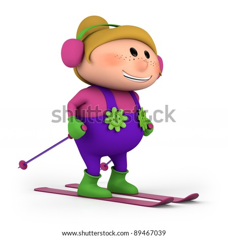 cute little cartoon girl skiing - high quality 3d illustration - stock photo