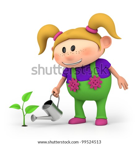 cute little cartoon girl watering a sprout - high quality 3d illustration - stock photo