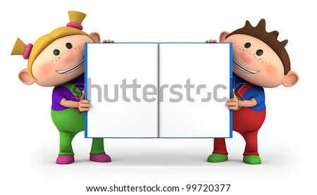 cute little cartoon kid - high quality 3d illustration - stock photo