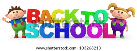 cute little cartoon kids with back to school letters  - high quality 3d illustration - stock photo