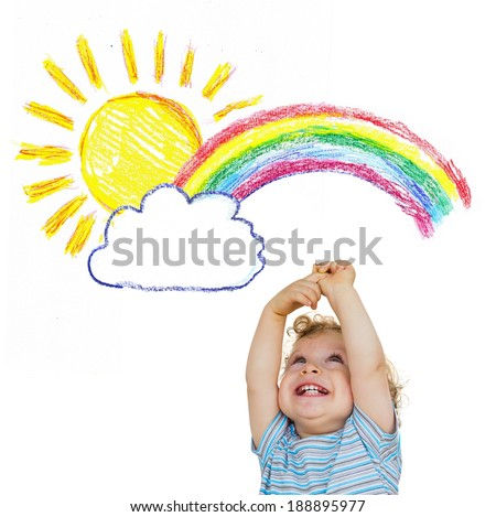 Cute little child holds arms out to the sun and the rainbow  - stock photo