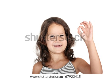 cute little child showing okay sign - stock photo