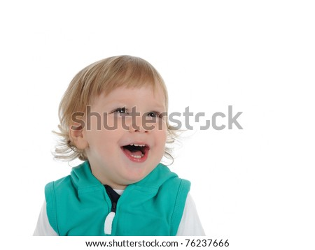Cute little child 2 years old smiling . isolated on white background - stock photo
