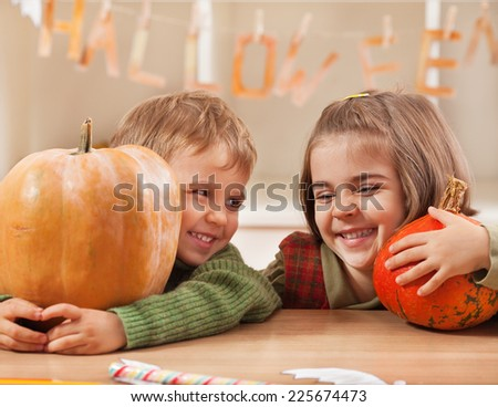 Cute little children having fun for Halloween - stock photo