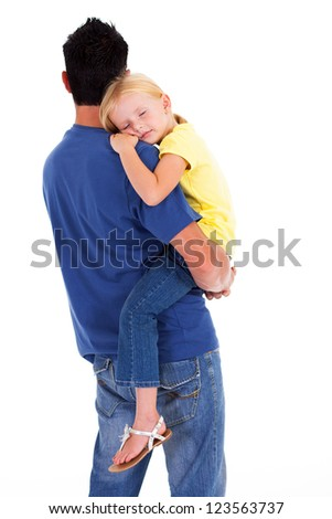 cute little daughter sleeping on father's shoulder - stock photo