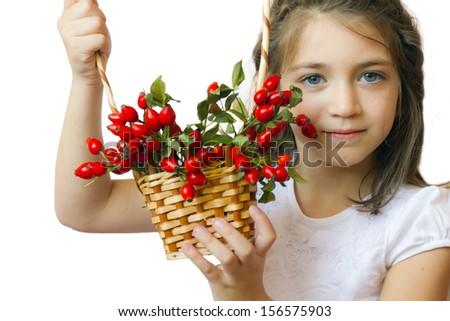 Cute little girl child with basket full of rose-ship - stock photo