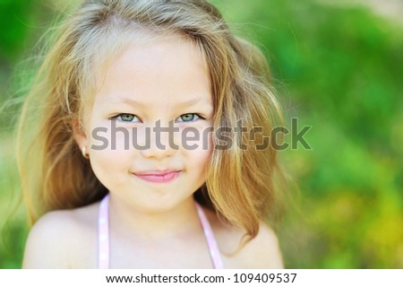 Cute little girl - Close Up - stock photo