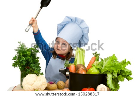 Cute little girl cooking soup with lots of different vegetables. Isolated on white - stock photo