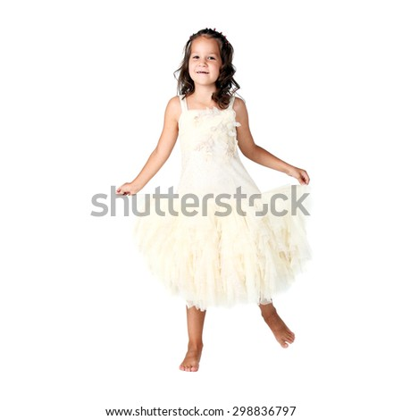cute little girl dancing in studio - stock photo