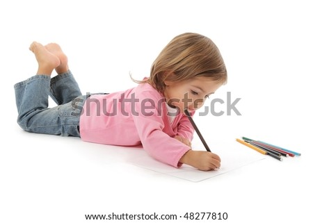 cute little girl drawing with pencils studio shot on white - stock photo