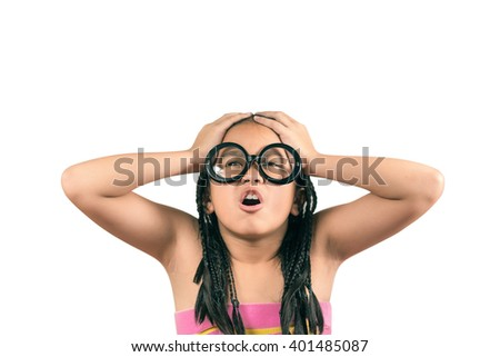 Cute little girl,dreadlocks hair style having a headache,Isolated over white with clipping path - stock photo