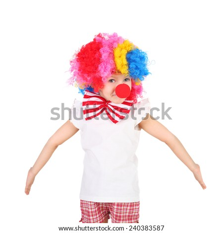 cute little girl dressed as a clown - stock photo