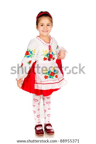 cute little girl dressed in traditional Ukrainian - stock photo