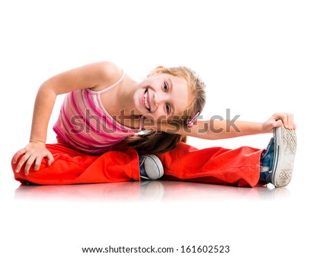cute little girl goes in for sports on a white background - stock photo