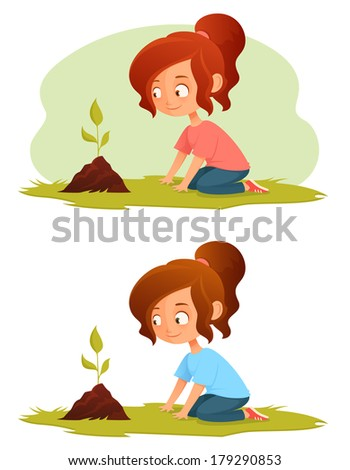 cute little girl growing a plant - green concept illustration for kids - stock photo