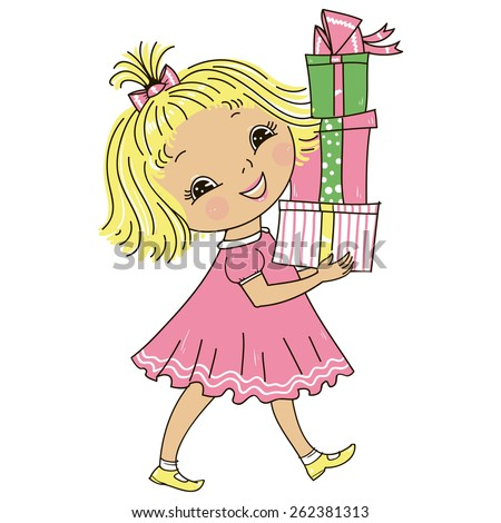 Cute little girl has a lot of gifts.  - stock photo