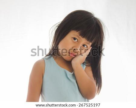 cute little girl having toothache - stock photo