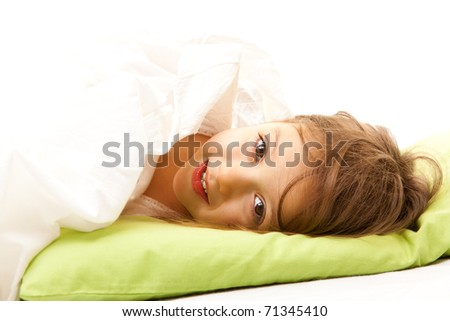 cute little girl  in her bed - stock photo