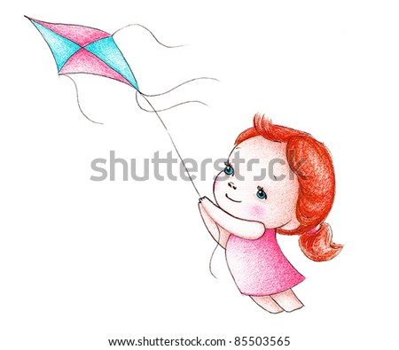 cute little girl in pink dress flying a kite - stock photo