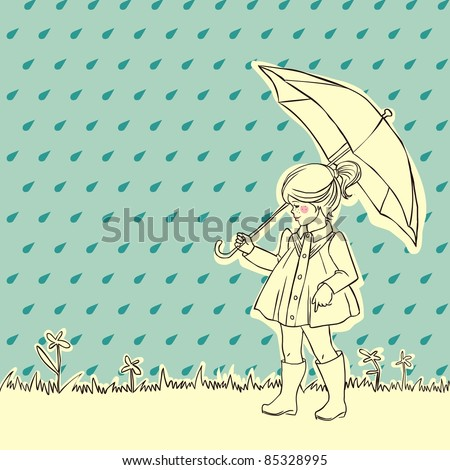Cute little girl in rain protected by an umbrella - stock photo