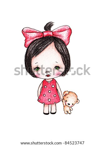 Cute little girl in red polka dots dress with teddy bear on white background - stock photo