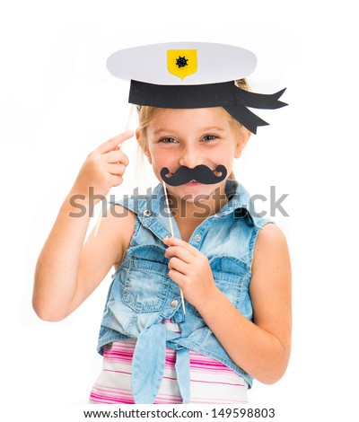 cute little girl in sailor hat with mustache - stock photo