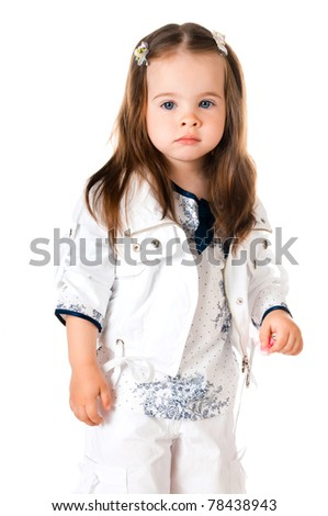 cute little girl in studio on white background - stock photo