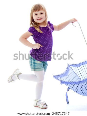 Cute little girl in summer clothes holding umbrella.Happy childhood, fashion, autumnal mood concept. Isolated on white background - stock photo
