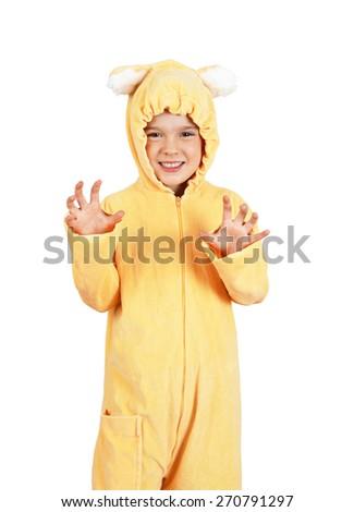 Cute little girl in teddy bear costume - stock photo
