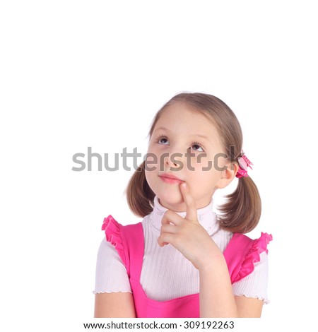 cute little girl in the pink dress - stock photo