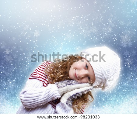 Cute little girl in winter wear happy about new year - stock photo