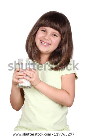 Cute little girl is holding big glass of milk - stock photo