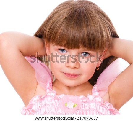 Cute little girl, isolated over white - stock photo
