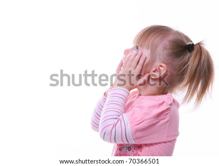 cute little girl looking surprised. child in pink hands on her cheeks. isolated on white  - stock photo