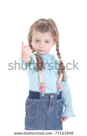 Cute little girl  pointing  finger isolated on white - stock photo